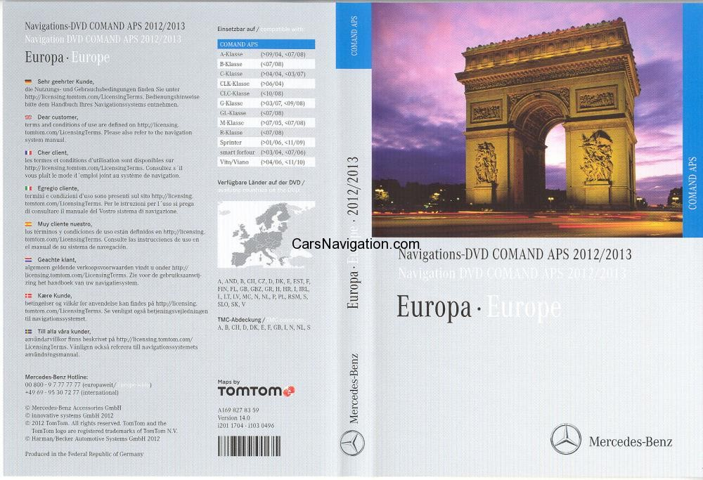 Mercedes benz navigations dvd comand aps 2017 v9.0 europa shooters
