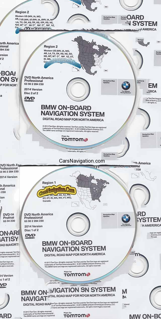 2014 BMW North American Map DVD Professional Region 1 & 2 (East &West)